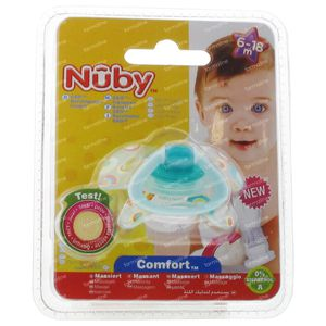 Nuby Sucette Silicone Geo Orthodontique 6-18 Mois Vert 1 pièce