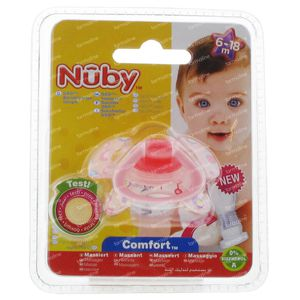 Nuby Sucette Silicone Geo Orthodontique 6-18 Mois Rose 1 pièce