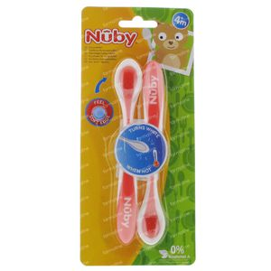 Nuby Cuillère Thermosensible +4 Mois Rose 2 pièces
