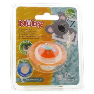 Nuby Fopspeen Glow In The Dark Orthodontisch 6-12 Maanden Oranje-Planeet 1 stuk