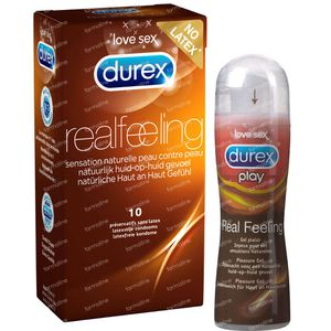 Durex Real Feeling Condoms Without Latex 10 pieces + Durex Play Real Feeling 50 ml 1 shaker