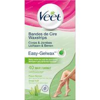 Veet Easy-Gelwax Kaltwachsstreifen Beine & Körper - Trockene Haut 40 st