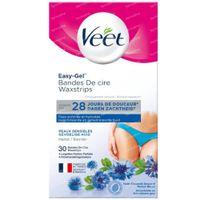 Veet Easy-Gelwax Bandes de Cire Maillot & Aisselles - Peaux Sensibles 30 pièces