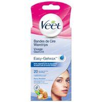Veet Easy-Gelwax Bandes de Cire Froides Visage - Peaux Sensibles 20 st