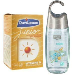 Davitamon Junior Multifruit 120 Comprimés à Croquer + Bodysol Kids Gel Douche 2en1 Sportsfun 250 ml OFFERT 1 set