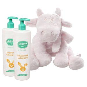 Galenco Baby Körpermilch Duopack 2x400 ml + Noukie's Kleine Kuscheltier Lola Rosa Cocon 1 shaker