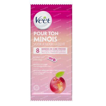 Veet Pour Ton Minois Bandes de Cire Froide Nectarine 8 pièces