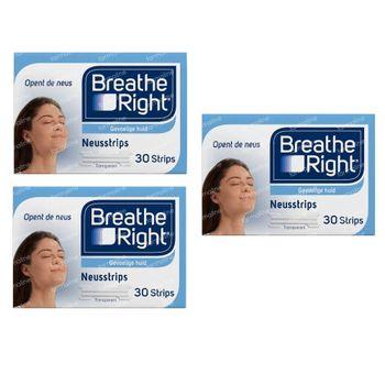 Breathe Right Clear Bandelettes Nasales TRIO 3x30 pièces