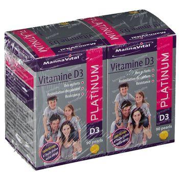 Mannavital Vitamine D3 Platinum Pearls DUO 180 perles