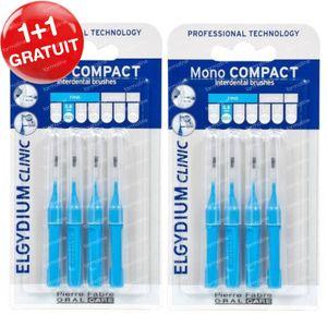 Elgydium Clinic Mono COMPACT Brossettes Interdentaires 0,8 mm Bleu 1 + 1 GRATUIT 2x4 pièces