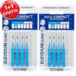 Elgydium Clinic Mono COMPACT Interdentale Borstel Fine 0,8mm Blauw 1+1 GRATIS 2x4 stuks