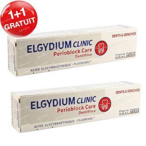 Elgydium Clinic Dentifrice Perioblock Care 1 + 1 GRATUIT 2x75 ml