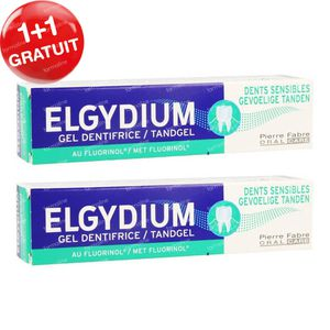 Elgydium Gel Dentifrice Dents Sensibles 1 + 1 GRATUIT 2x75 ml