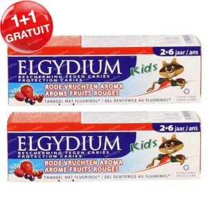 Elgydium Kids Gel Dentifrice Fruits Rouges 1 + 1 GRATUIT 2x50 ml