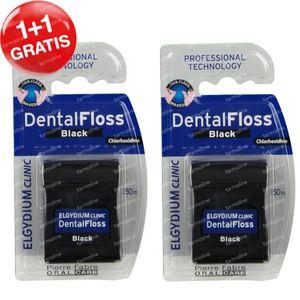 Elgydium Clinic DentalFloss Chloorhexidine Zwart 1+1 GRATIS 2x50 m