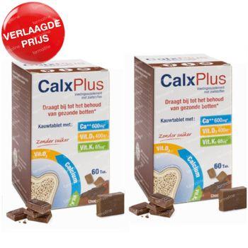 CalxPlus Chocolade zonder Suiker DUO Verlaagde Prijs 2x60 tabletten