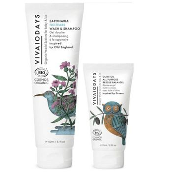 VIVAIODAYS Olive Oil All Purpose Rescue Balsem Gel + Saponaria No-Tears Wash & Shampoo 75+150 ml