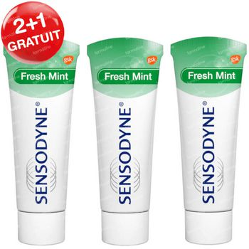 Sensodyne Dentifrice Fresh Mint 2+1 GRATUIT 3x75 ml