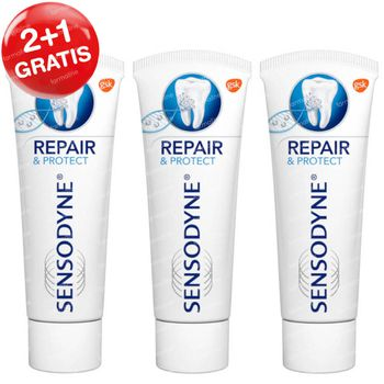 Sensodyne Tandpasta Repair & Protect 2+1 GRATIS 3x75 ml
