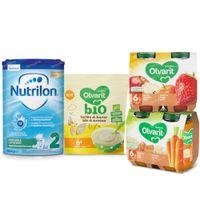 Nutricia Pack avec Lait de Suite, Céréales et Petits Pots Repas et Fruits pour Bébés 6 Mois 1  set