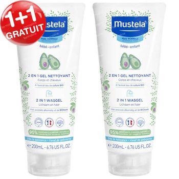 Mustela Bébé 2 en 1 Gel Nettoyant Corps et Cheveux 1+1 GRATUIT 2x200 ml