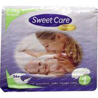 Sweetcare Premium newborn maat 1 2-5kg 36 stuks