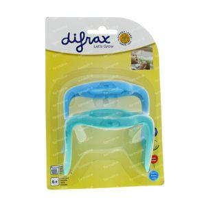 Difrax Handgreep S-Fles Natural Klein En Groot Blauw/Groen 2 stuks