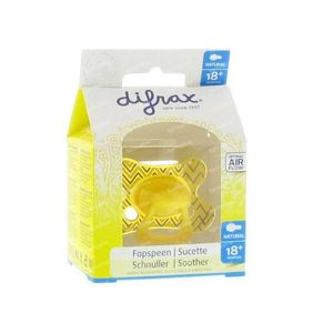 Difrax Sucette Natural Silicone +18m Motif Jaune 1 pièce