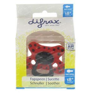Difrax Sucette Natural X-Fort Silicone +18m Rouge Avec De Boules Noirs 1 pièce