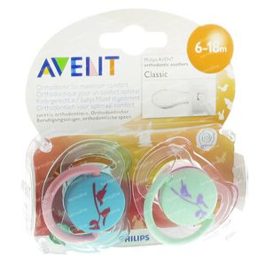 Avent Soother Silicon +6m Design Birds 2 pieces